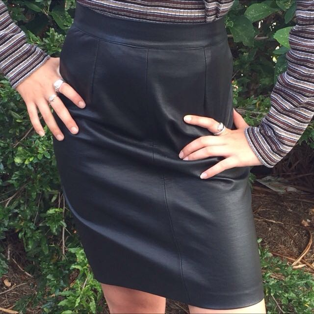 Vintage 'HELIUM' Black Pleather Pencil Skirt