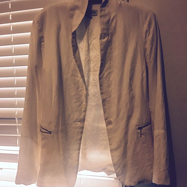 White Coat With Gold Zippers