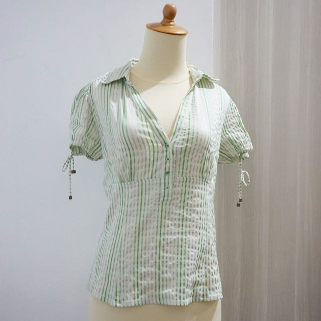 Zara Green Stripes Top