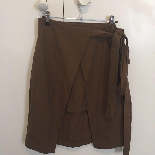 Zara Green Tie Skirt