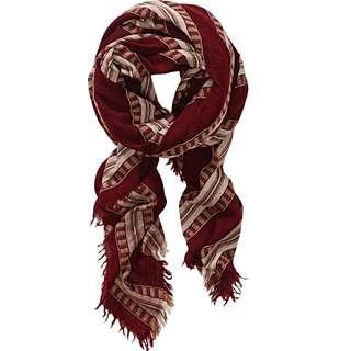 Aritzia Wilfred Mixed Stripes Burgundy Blanket Scarf