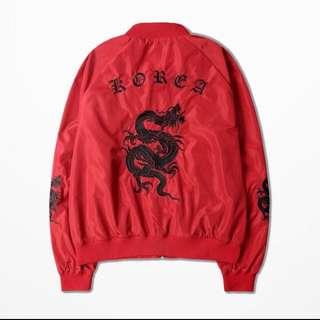 超低價 刺繡 紅色刺繡外套 飛行外套