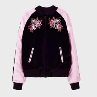 頑皮豹 粉紅 刺繡外套 飛行外套