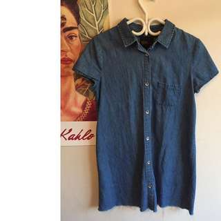 Zara Button Up Denim Dress