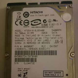 2.5 160GB 5400 RPM laptop drive