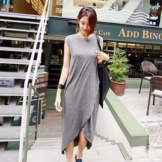 Gray Maxi-slit Dress