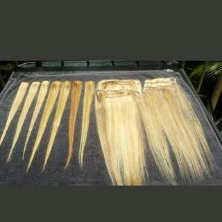2 Full Sets Of Human Hair extensions blond Tones