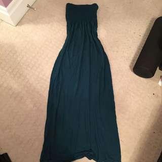 Turquoise Tube Maxi Dress