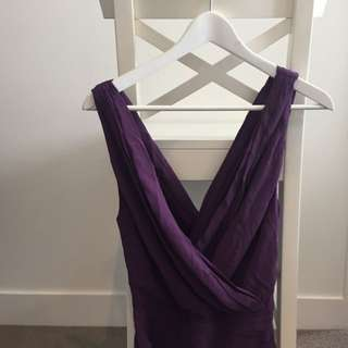 Purple Crossover Silk Dress
