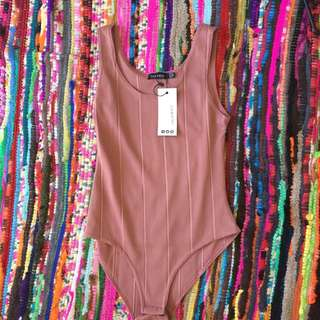 Brand New Rib Scoop Neck Bandage Bodysuit Size 10