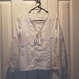 White Summery Crocher Top