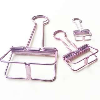 10 pcs Binder Clips (small) / 8 pcs Binder Clips (medium) / 3 pcs Binder Clips (Large) / Skeleton Metal Binder Clips (Metallic Purple) / Office Desk Stationeries