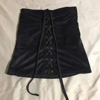 Mendocino Suede Short Lace Up Skirt
