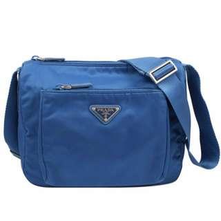 【PRADA 】寶藍中性尼龍側背包