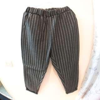 古著 直條紋棉質打褶褲