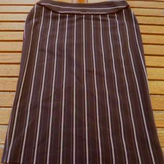 Moss & Spy Skirt Mocha Pinned Stripe Stretch Fabric size 10 Waist 74 Hips 102cm Near New