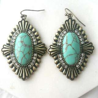 Elly Lou branded Turquoise And Gold Earrings