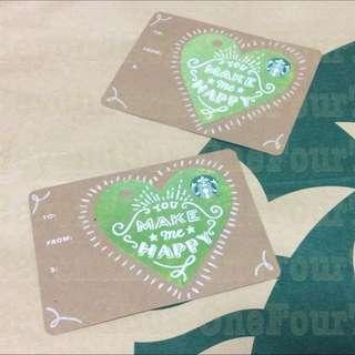 Starbucks You Make Me Happy Green Heart Diecut