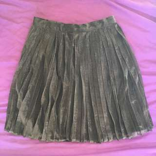Cute Skater Pleat Ally Skirt 6 Metallic