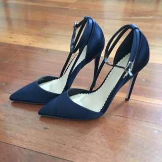 Blue Satin Heels