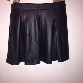 black leather like skirt