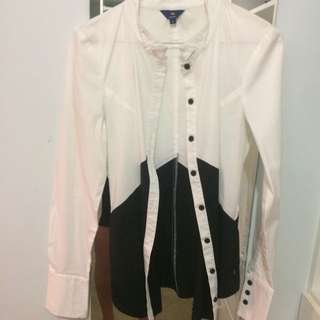 CUE Black And White Feature Blouse
