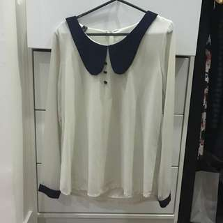 Zara Inspired Off White Navy Blue Peterpan Collar Top Size Small