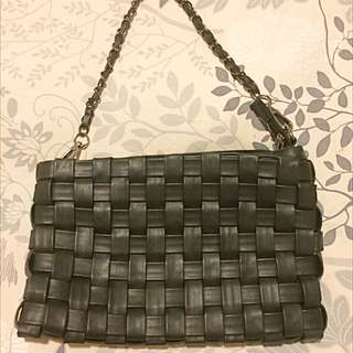 Black Woven Leather Clutch On Chain