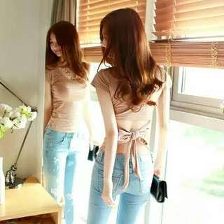 韓版性感露背短袖綁帶T恤