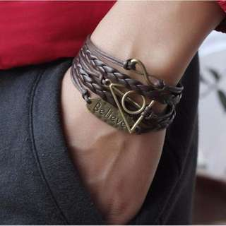 Infinity Antique Gold Geometric Deathly Hallows Bracelet