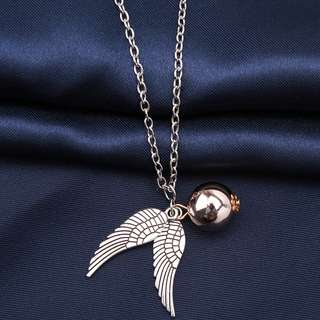Harry Potter Golden Snitch Quicksilver Golden Pearl Necklace