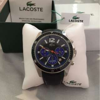 Lacoste 三眼 手錶 石英錶 牛皮錶帶