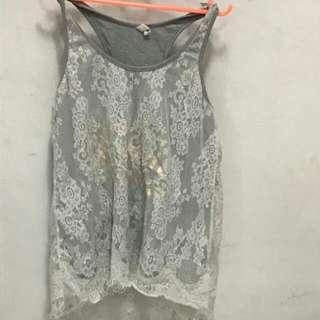 Grey Lace Singlet
