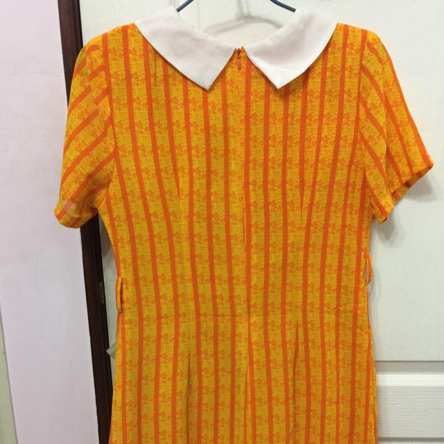 橙色復古小洋裝