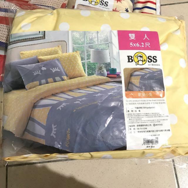 全新雙人三件式床包組