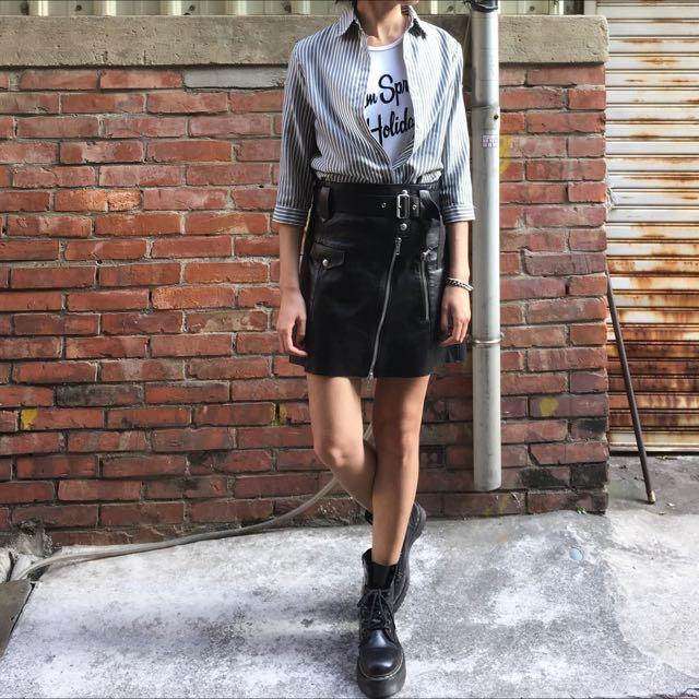 ✌🏻二手✌🏻休閒灰白條紋七分捲袖長版襯衫