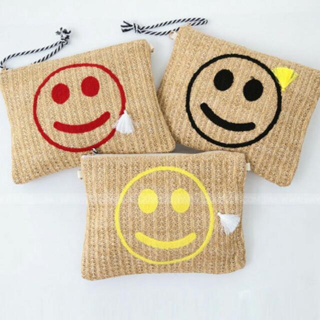 草編織微笑信封包/紅