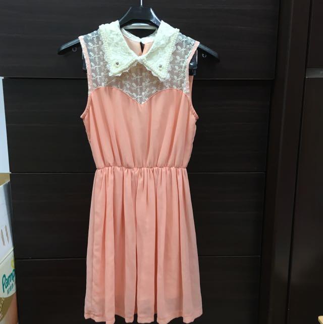 全新粉橘蕾絲珍珠領連身洋裝