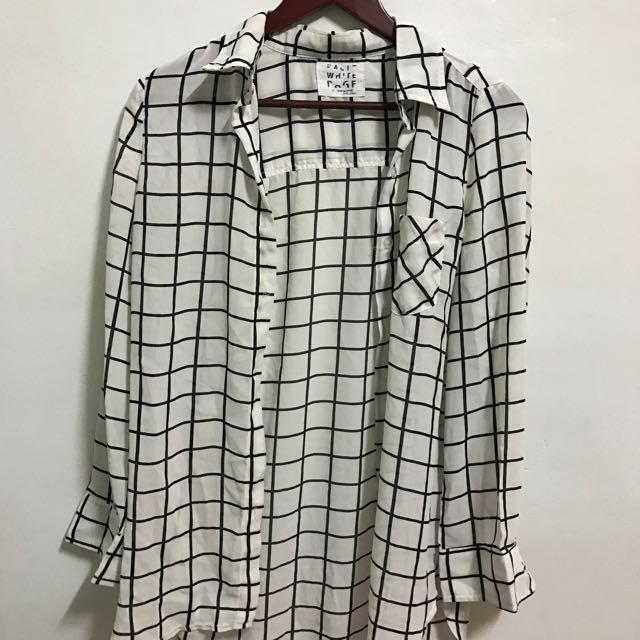 韓製 雪紡白格襯衫