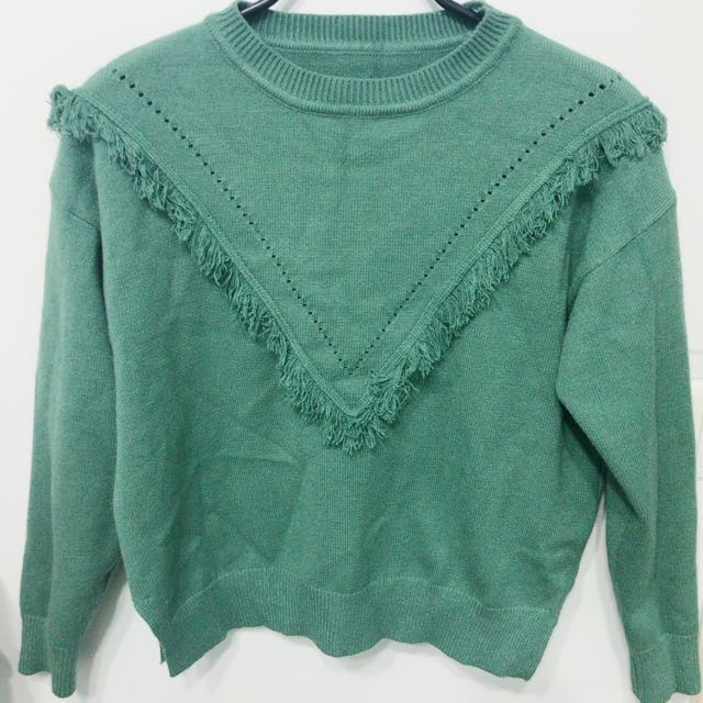 全新 綠色針織上衣