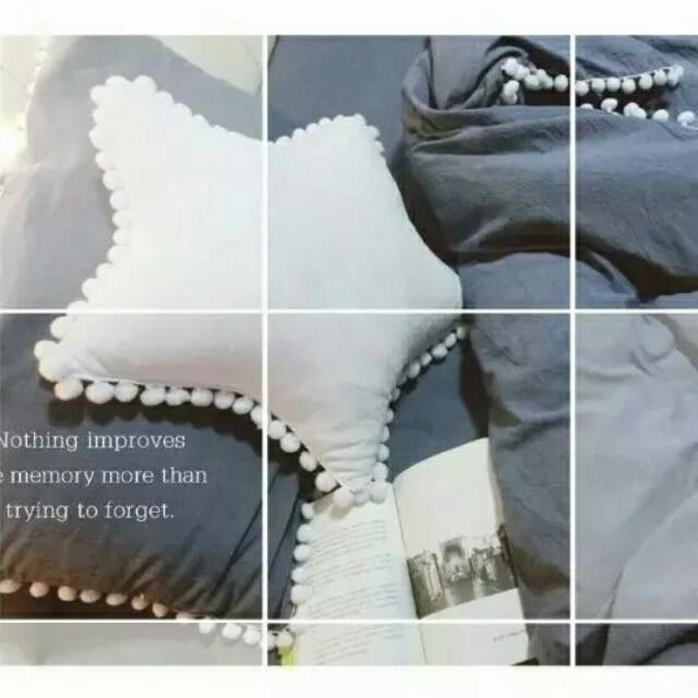 毛球純白五角星 星星抱枕 天鵝絨