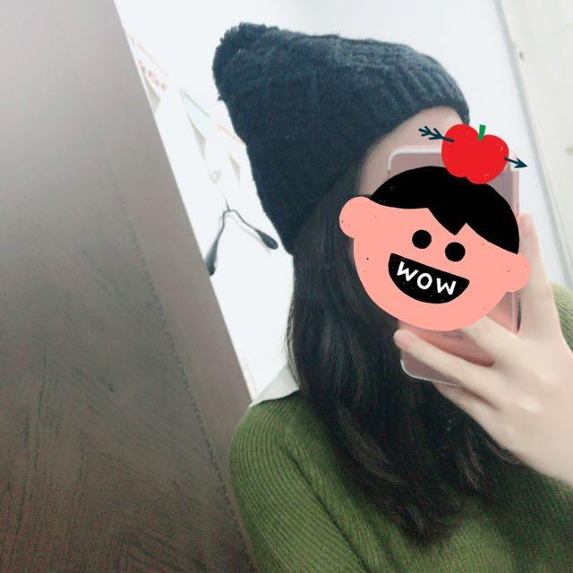黑色 毛球 毛帽
