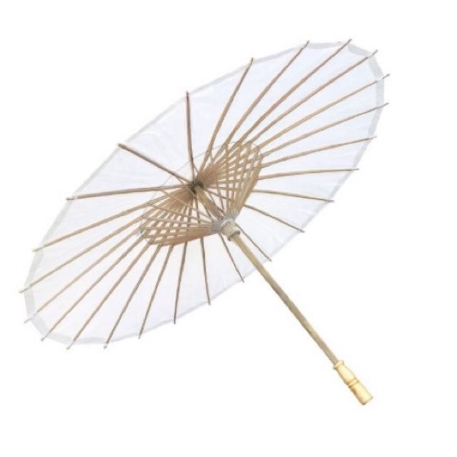 Bamboo Paper Parasol / Umbrella - White x 2