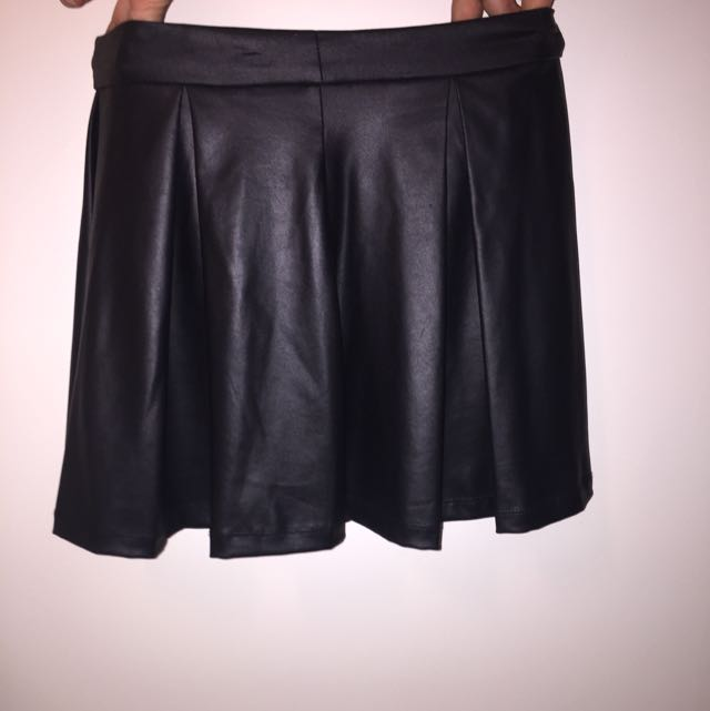 black leather like skirt