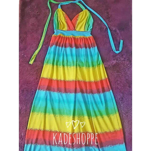 Colorful Backless Maxi Beach Dress