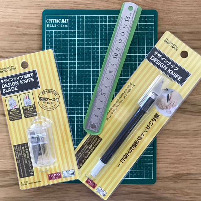 Cutting set with cutting mat, metal ruler (15cm), cutting knife and refill blade