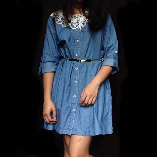 Denim Dress With Crochet RGD01