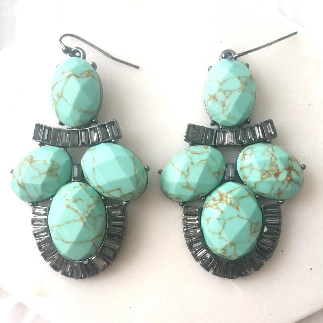 Elly Lou Branded Turquoise And Gunmetal Earrings