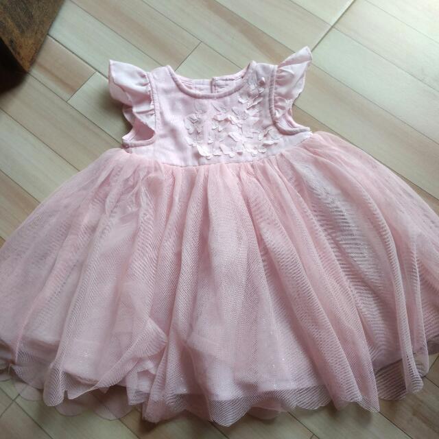 Gaun Baby Pink Size 6-9 bulan