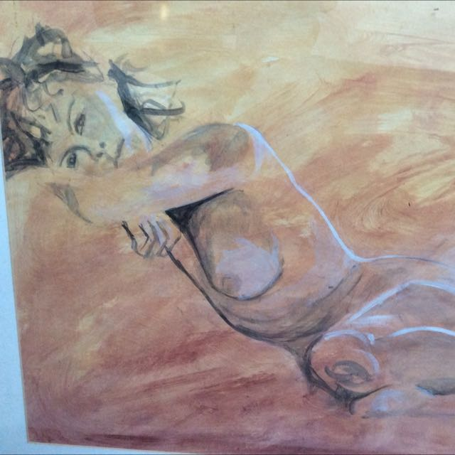 Glass Framed Original Acrylic Nude Painting